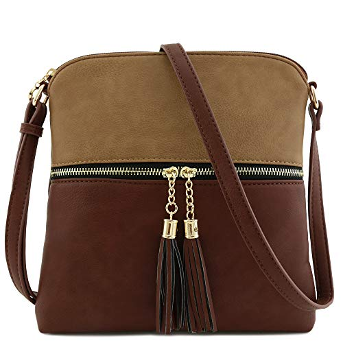 Bag Crossbody Tassel Pocket Zip Brown Stone qpxRftRw7