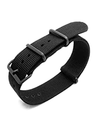 G10 NATO 23mm Watch Band, Heat Sealed Nylon, PVD Buckle, Color Black