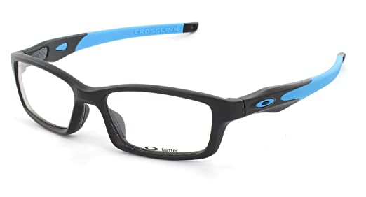 28e1a519f9b Amazon.com  Oakley Crosslink Eyeglasses OX8027-0153  Satin Black Sky Blue  Color   Clothing