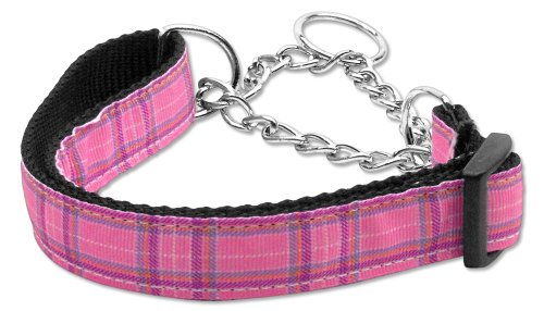 Mirage Pet Dog Cats Indoor Outdoor Training And Behavior Aids Accessories Plaid Nylon Collar Martingale Pink Large