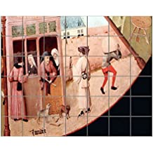 "Scenes Of Seven Deadly Sins #3 (Bosch) Horizontal Tile Mural Satin Finish 36""Hx42""W 6 Inch Tile"