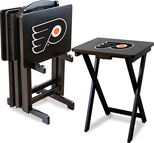 Imperial Officially Licensed NHL Merchandise: Foldable Wood TV Tray Table Set with Stand, Philadelphia Flyers