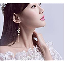 JD Million shop 2017 New Fashion Fine Jewelry Pearl Metal Circle Gold Color Keep Color Tassel Copper Stud Earrings For Women Ladies' Gift E-304