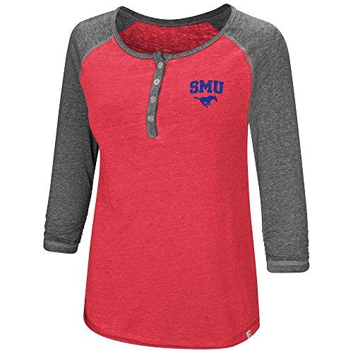 Colosseum Womens SMU Southern Methodist Mustangs Henley 3/4 Long Sleeve Tee Shirt - ()