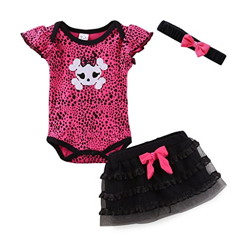 Mud Kingdom Thanksgiving Baby Girl Outfits 0-3 Months Clothes Sets Halloween Skull 3M Rose -