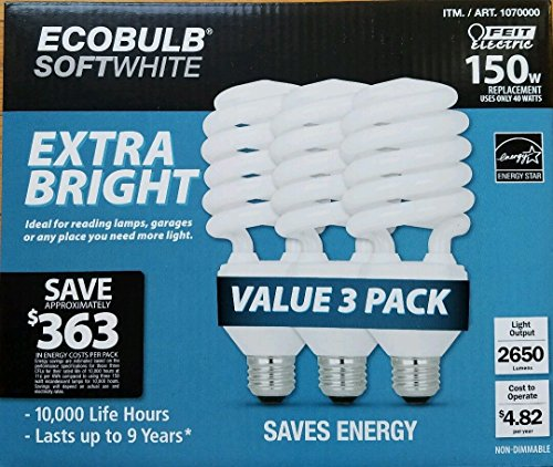 Bright Compact Fluorescent White (ECOBULB Feit Electric 40 W Extra Bright Soft white 150 W Equivalent Compact Fluorescent Light Bulb CFL 3 Pack)