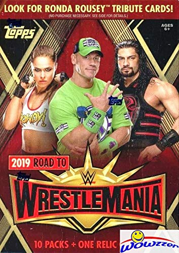 (2019 Topps WWE Road to Wrestlemania EXCLUSIVE Factory Sealed Retail Box with RELIC Card! Look for Cards & Autographs of WWE Superstars including Jon Cena, Roman Reigns, Rondo Rousey & More! WOWZZER!)
