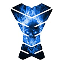Explode Skull Blue XXX Shape Motorcycle sportbike Tank Pad Protector guard gel decal