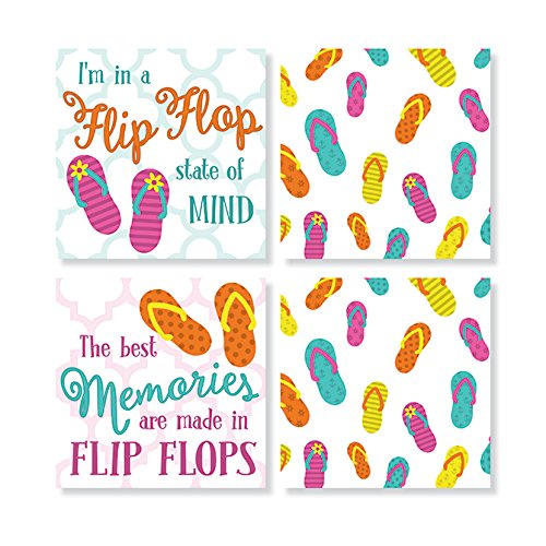 Flip Flop Pattern Square House Coaster Set By Carsons