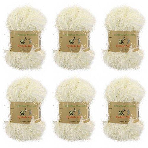 BambooMN JubileeYarn 50g Eyelash Ruffle Fur Yarn, 6 Skeins Cream