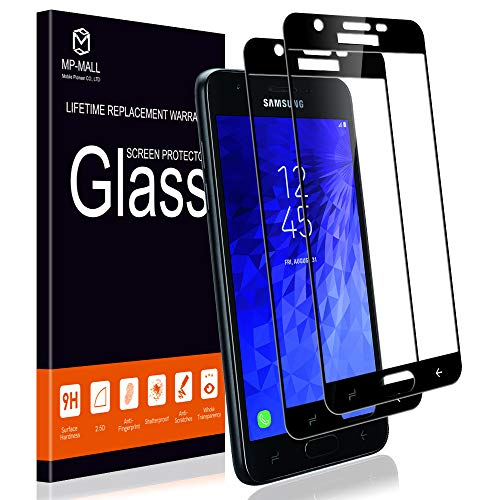 [2-Pack] MP-MALL Screen Protector for Galaxy J3 Achieve, [Tempered Glass][Full Cover] for Samsung Galaxy J3 2018 with Lifetime Replacement Warranty