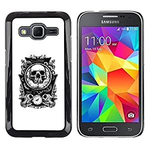 Eason Shop / Hard Slim Snap-On Case Cover Shell - Bones Skull Mirror White Time Death - For Samsung Galaxy Core Prime SM-G360