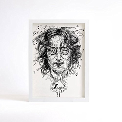 Miss You, John Lennon Portrat Drawing, Decor Print, Black and White Art, Beatles Art Wall Decor