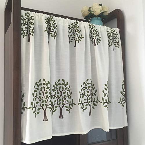 HXSM リネン カフェカーテン ホワイト キッチン カーテン 田園風 ショートカーテン シンプル 目隠し 小窓用 ハーフカーテン 出窓 飾り