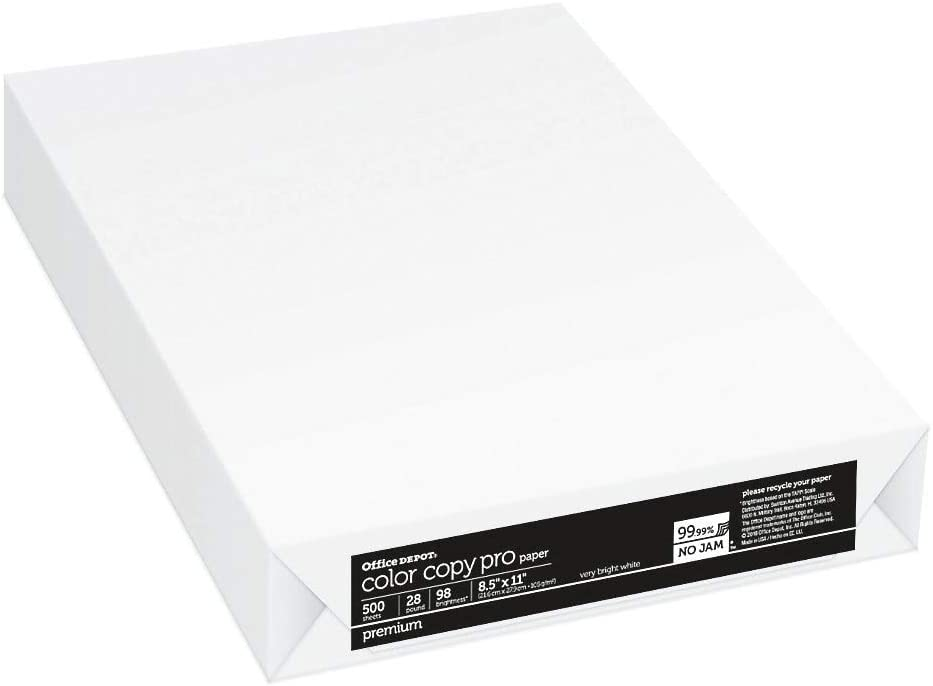 "Office Depot Color Copy Paper, Letter Size (8 1/2"" x 11""), 28 Lb, Ream of 500 Sheets"