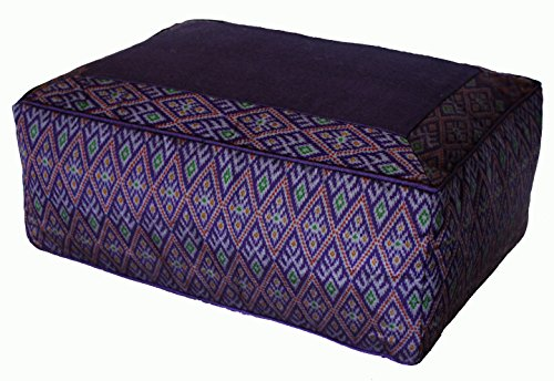 Meditation Cushion - Tibetan Style Rectangular Combination Fill Zafu - Purple Diamond Ikat
