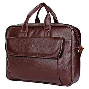 Sassie Leatherette 12 LTR Brown Office Bag, Laptop Briefase, Sling Bag, Messanger Bag & Laptop Bag