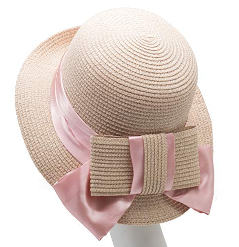 Melniko City Women Straw Cloche Hat - Summer UPF Elegant Bowknot