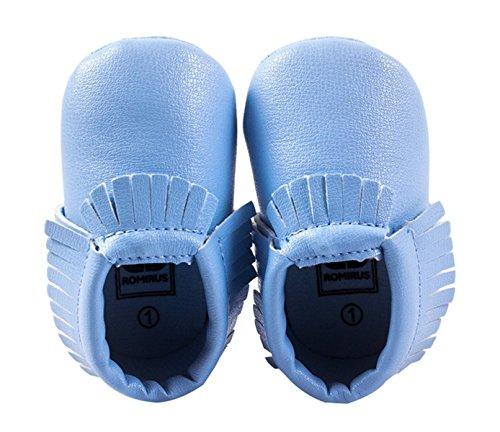 Happy Cherry Zapatos con Borlas Mocasines de PU Piel Suaves Zapatitos Primeros Pasos Calzado Infantil para 9-12 Meses Bebés Niñas Niños Baby Prewalker Shoes Longitud 13cm Talla EU 20-21 Color Caqui azul