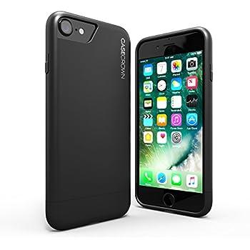 iPhone 8 Case / iPhone 7 Case, CaseCrown Lux Glider Case (Matte Black) w/ Matte Finish & Felt Interior