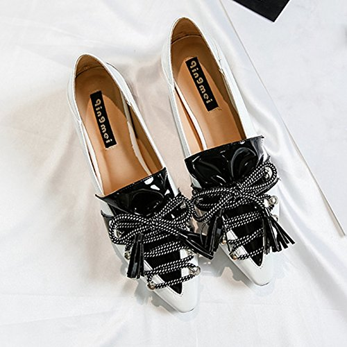 Women Pumps Shoes Slip On Tassel Toe CYBLING For White Dress Single Pointed Fashion Womens Party wqcStpaX