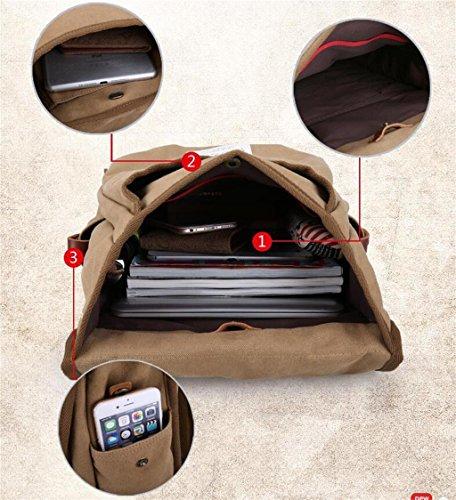 DELLT-Rucksack Männer im Freien Sporttasche Leinwand Freizeittasche Computer Tasche Schulranzen Schüler