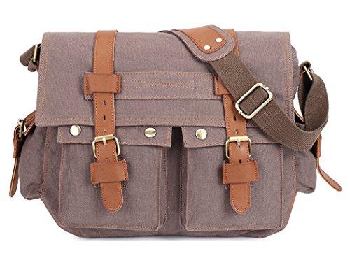 Women's Canvas Travel Bag Student Drawstring Bucket Backpack (Beige) - 6