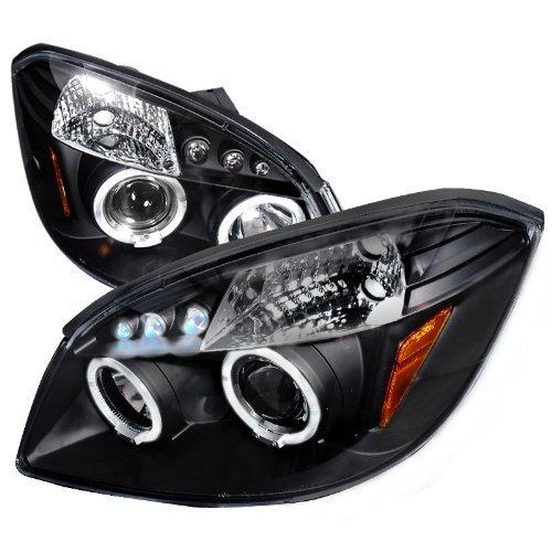 Halo Black Clear Projector Headlights - Spec-D Tuning 2LHP-COB05JM-TM Pontiac G5 Chevy Cobalt 2x Halo Led Black Projector Head Lights