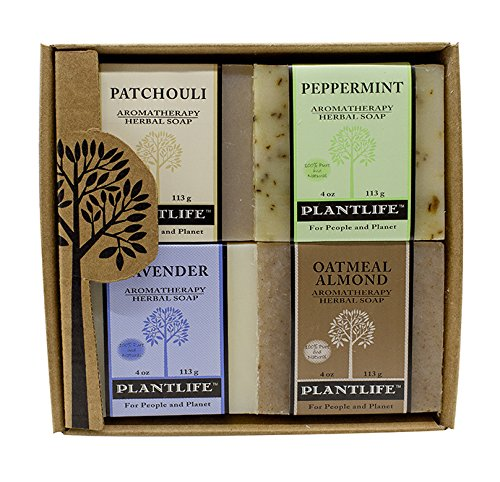 (Plantlife Aromatherapy Herbal Soap 4 Pack Combo - Earth Gift Set - Patchouli, Peppermint, Lavender, and Oatmeal Almond)