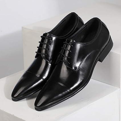 LIXIYU Zapatos de Hombre con Punta de Cuero Formal Zapatos Oxford ...