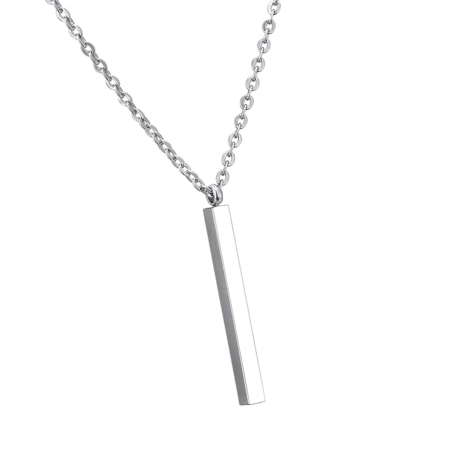 Fashion HW Sterling Silver Necklace Simple Vertical Bar Pendant S925 Women Chain, 28+2