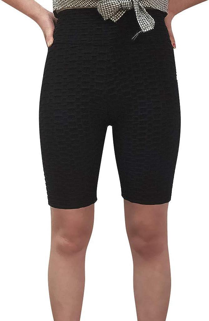RISTHY Leggins Pantalones Cortos Yoga Correr Deportivos Mujer Mallas Pantalones con Bolsillos Push Up Fitness Pantalones de Deporte Cintura Alta Gimnasio Ropa Deportiva El/ástico