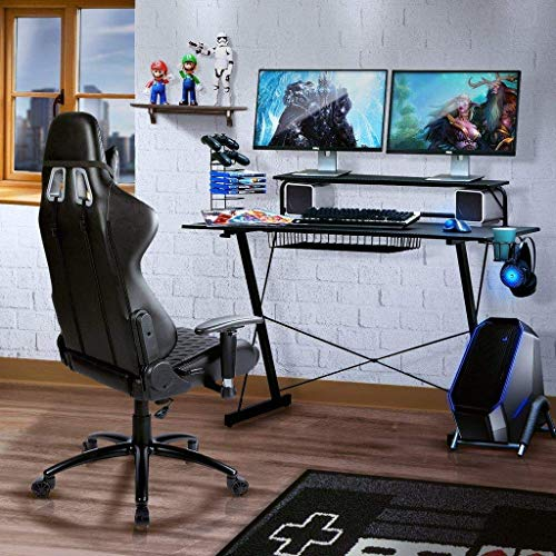 TECHNI SPORT Gaming Desk Collection - TV Stand, Charging Station, Speaker/Game/Controller/Headphone Storage - Perfect Gaming Desktop Desk (Carbon) (Best Tv For Gaming And Sports)