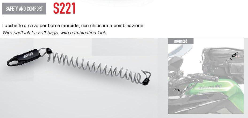 Givi/ /Cadenas avec c/âble r/étractable et serrure /à combinaison s220