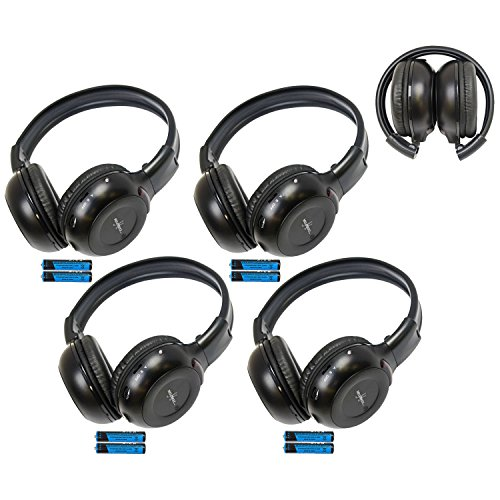 Four Pack of Two Channel Folding Adjustable Universal Rear Entertainment System Infrared Headphones With Four Additional 48' 3.5mm Auxiliary Cords Wireless IR DVD Player Head Phones for in Car TV Video Audio Listening With Superior Sound Quality