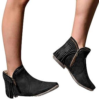 Amazon.com: Retro Botines Cortos para Mujer/NEARTIME/Otoño ...