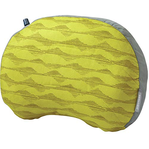 Therm-a-Rest Air Head Inflatable Travel Pillow for Camping and Travel, Yellow Mountains, Large -12.5 x 18