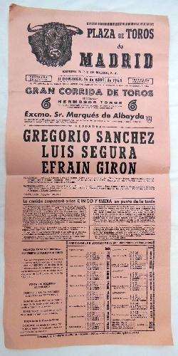 Poster - Cartel : Plaza Toros de Madrid : GREGORIO SÁNCHEZ ...