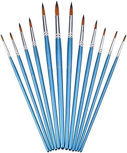 12 Stück Künstlerpinsel Set für Acryl Aquarell Ölmalerei, Blau