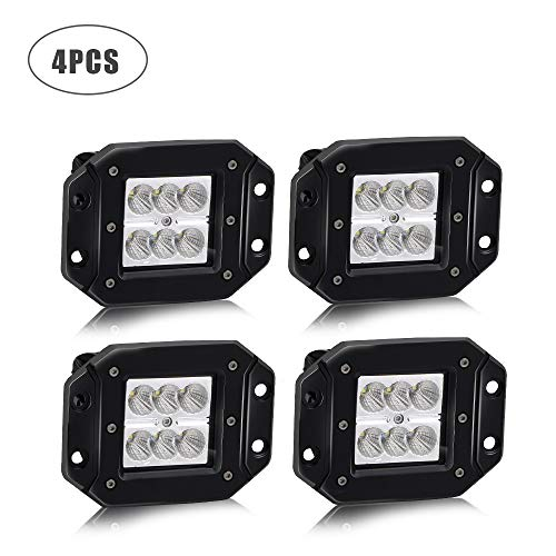 Led Light Bar TURBO SII 4pcs Flood 3x3 Dually Flush Mount Led Light Lamps Led Off Road Back Up Reverse lights Fits for Jeep Truck F150 F250 F350 Toyota Honda Chevy Silverado Front/Rear Bumper ()