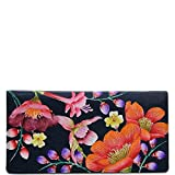 Anuschka Women's Genuine Leather Checkbook Cover | Hand Painted Original Artwork | Moonlit Meadow