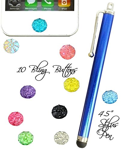 10 Home button stickers in Rhinestone Bright colors Plus Hot pink stylus pen for Apple ipad air ipad mini iphone 3g 4 5 6 (Bright Blue) ()