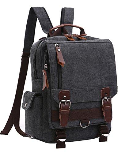 Cross Body 13-inch Laptop Messenger Bag Shoulder Backpack (Black-Zipper Shoulder) ()