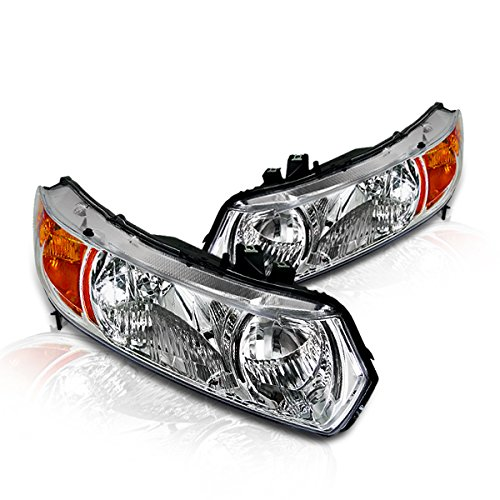 2006 2007 Honda Civic Coupe - Instyleparts Clear Lens Headlight with Chrome Housing Made And Compatible For Honda Civic 2 Door Coupe Does Not Fit Hybrid