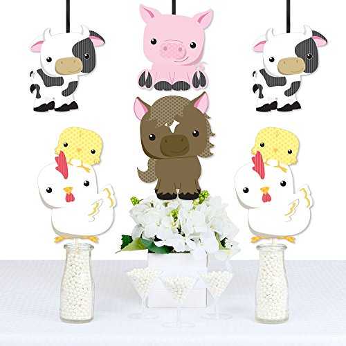 Farm Animals - Cow, Horse, Pig and Chicken Decorations DIY Baby Shower or Birthday Party Essentials - Set of 20 by Big Dot of Happiness (Image #1)