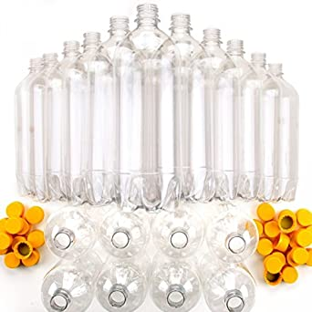 verision 16 pack Soda Bottle Preforms and Caps clear no tamper ring 16 oz