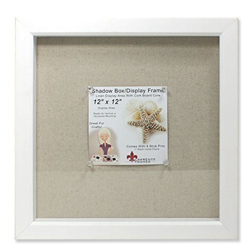 Lawrence Frames 168112 Shadow Box Frame with Linen Inner Display Board, 12 by 12-Inch, White (Shadow Scrapbook Box)