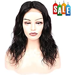 Fave Natural Wave Human Hair 4x4 Lace Part Curly Human Hair Wigs #1B Color 12 Inch