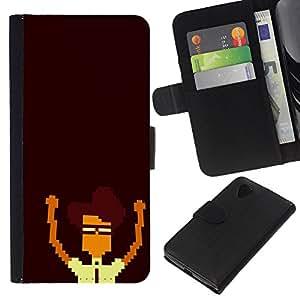 EJOY---Tirón de la caja Cartera de cuero con ranuras para tarjetas / LG Nexus 5 D820 D821 / --Nerd Pixel