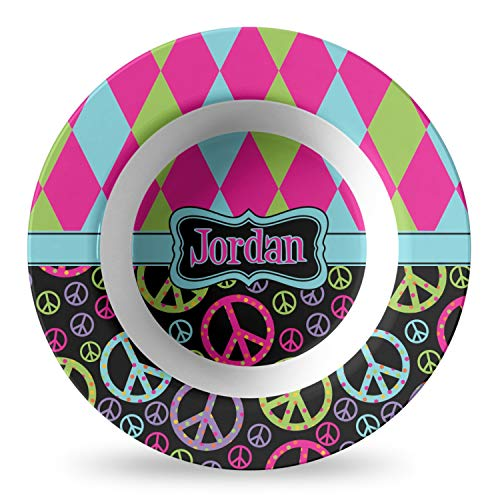 Harlequin & Peace Signs Plastic Bowl - Microwave Safe - Composite Polymer (Personalized)